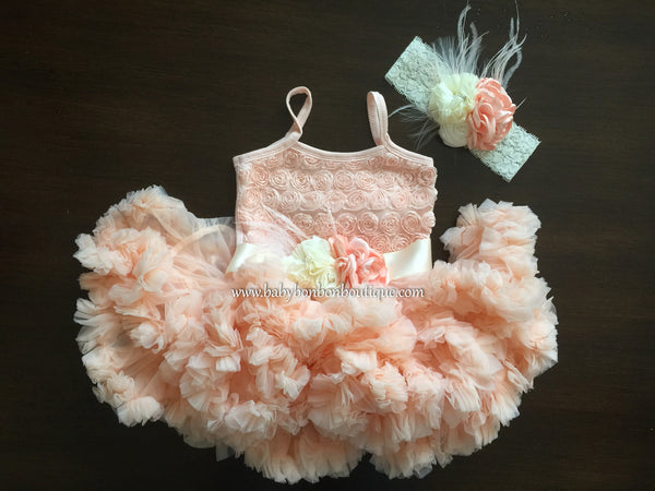 Peach Blush Fluffy Baby Tutu Dress