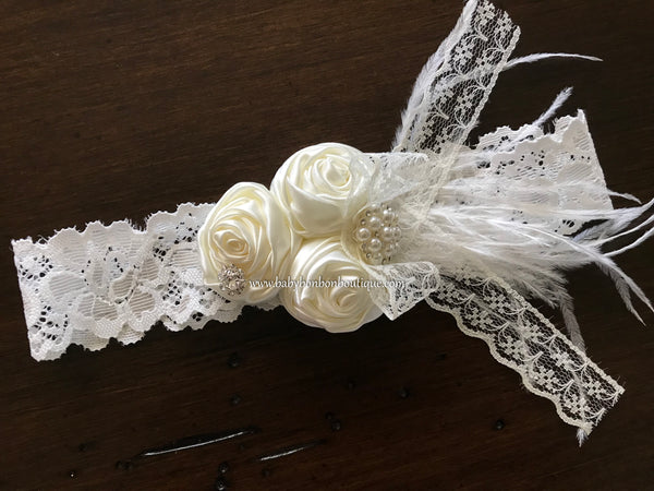Ivory Baby Baptism Rosette Headband, Sash, and Barefoot Sandals