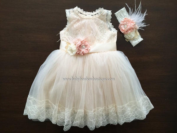 Champagne Baptism Lace Dress by Baby Bonbon Boutique