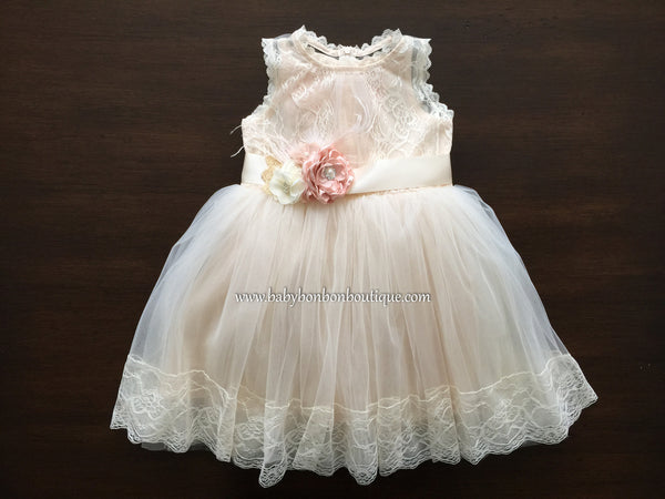 Baby Baptism Lace Dress, French Flower Girl Dress