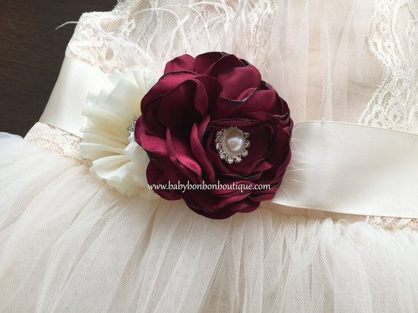 Vintage Red and Ivory Flower Girl Headband & Sash