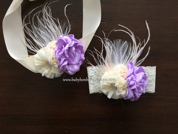 Lavender and Ivory Baptism Headband & Sash