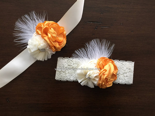 Vintage Gold and Ivory Flower Girl Headband & Sash