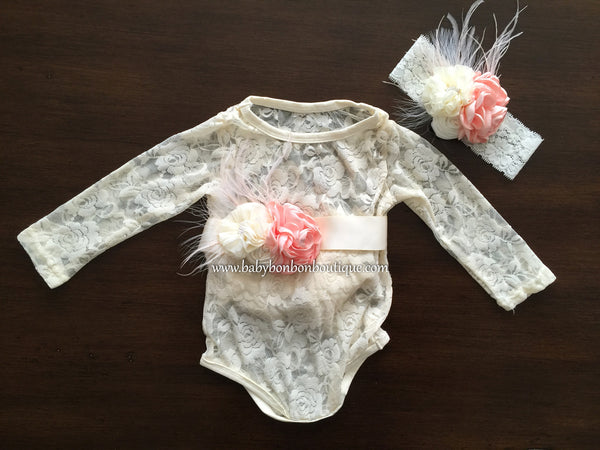 Baby Lace Onesie, Headband, and Sash