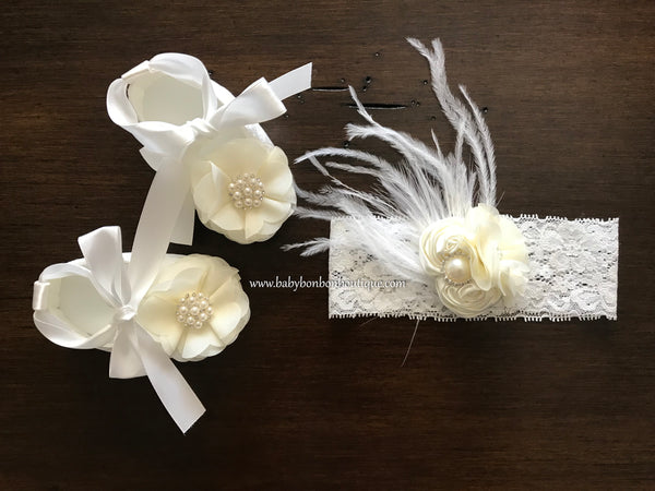White Baby Girl Baptism Shoes & Ivory Flower Headband Set