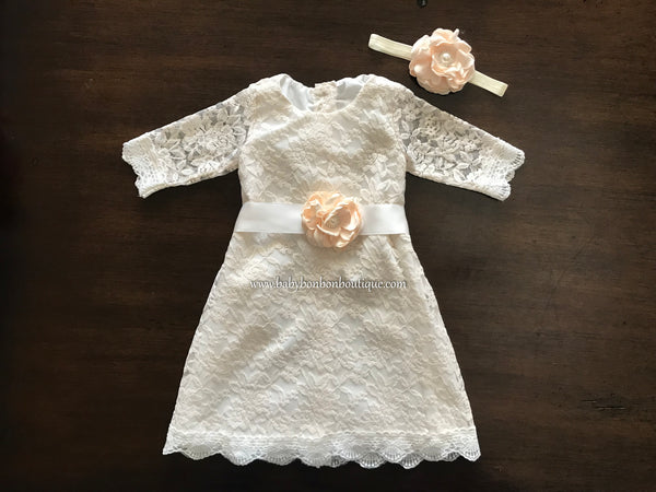 Bell Lace Dress with Headband and Sash