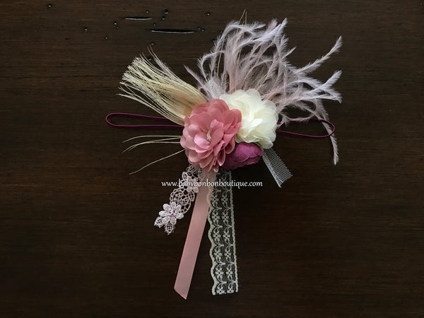 Dusty Pink and Ivory Baptism Headband and Sash