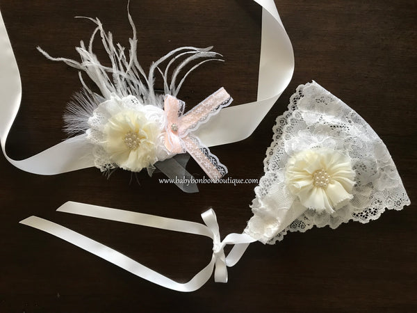 White Baptism Bonnet and Baptism Sash
