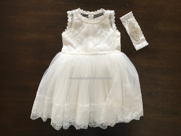 Off White Baby Girl Baptism Dress, Christening Lace Dress