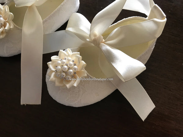 Baby Girl Baptism Shoes with Floral Rhinestones