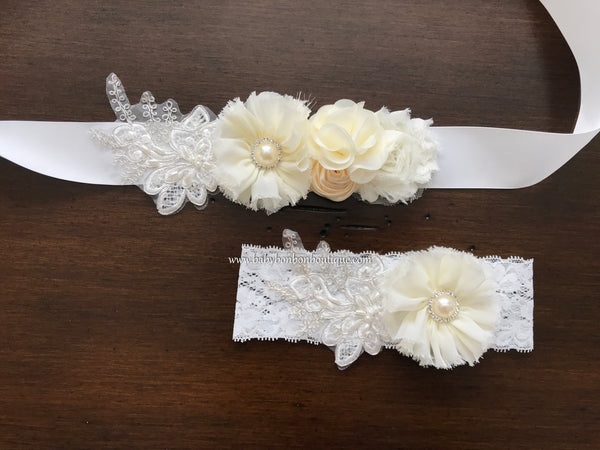 French White and Ivory Baptism Headband & Sash