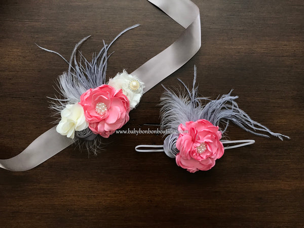 Pink, Ivory, and Gray Baby Headband, Sash, and Sandals