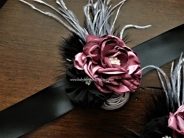 Black and Vintage Rose Baby Headband, Sash, and Barefoot Sandals