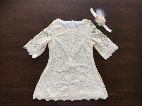 Creme Brulee Bell Lace Dress with Ivory Headband