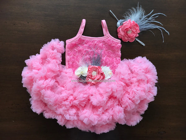 Pink Fluffy Baby Petti Skirt Dress Baby Bonbon Boutique