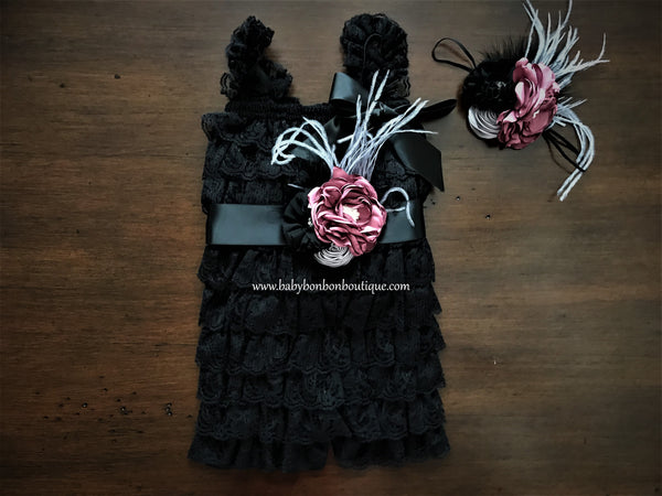 Smoky Gray Baby Lace Romper with Headband & Sash, Black Baby Lace Romper