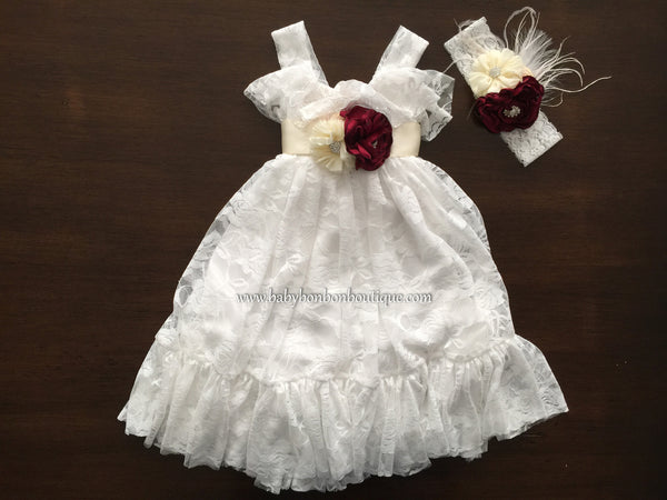 White Lace Baptism Dress, Maxi Flower Girl Dress