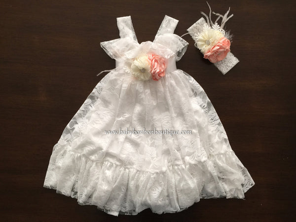 White Lace Baptism Dress, French White Lace Flower Girl Dress