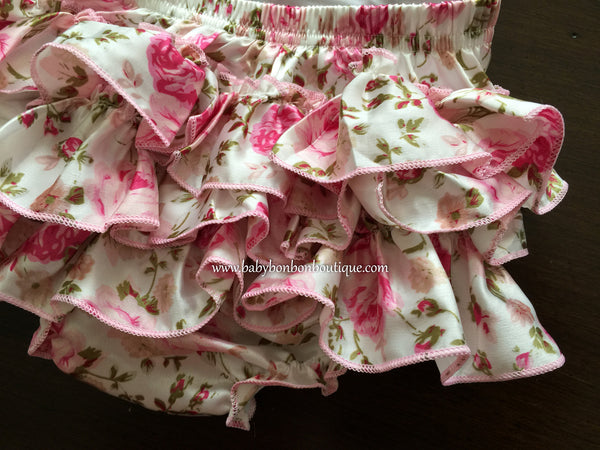 Dusty Pink Floral Ruffled Romper