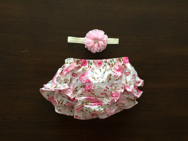 Pink Bloomers, Baby Diaper Covers & Headband Set