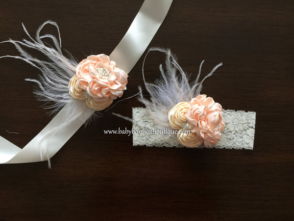 Blush and Creme Brulee Toddler Headband and Sash