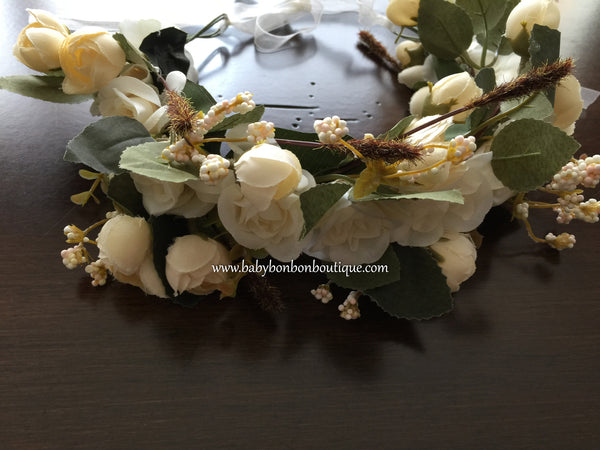 Flower Girl Flower Head Wreath, Ivory Head Crown, Toddler Flower Crown