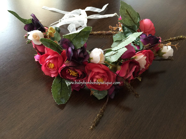 Red Flower Wreath, Flower Girl Flower Head Wreath, Toddler Flower Crown