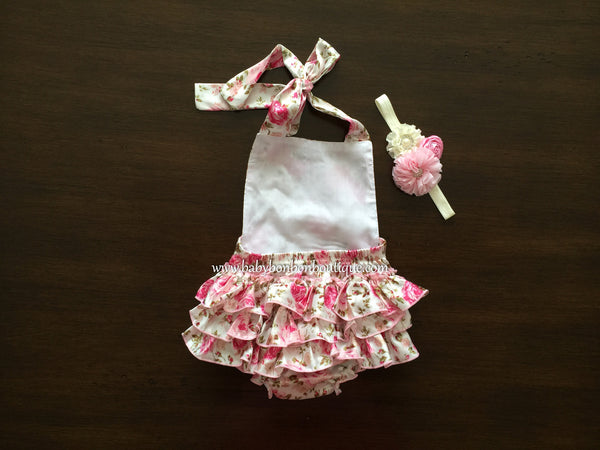 Baby Pink Floral Ruffled Romper