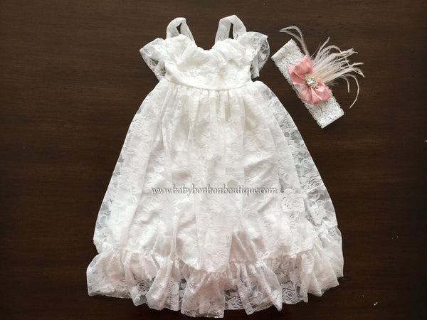 White Lace Maxi Flower Girl Dress with Pink Silk Bow Headband