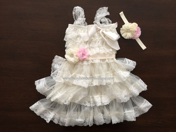 Ivory Lace Flower Girl Dress, Flower Girl Layered Dress