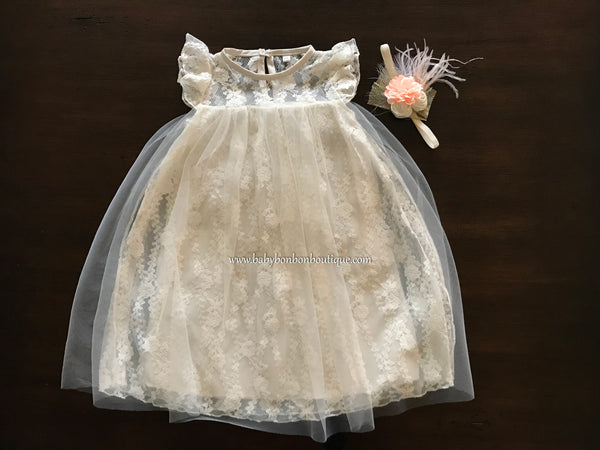 Vintage Ivory Lace Christening Dress with Headband