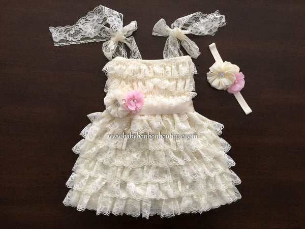 Baby Girl Ivory Lace Dress, Baby Flower Girl