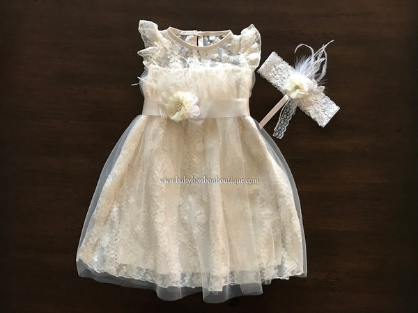 Ivory Lace Christening Dress with Headband and Sash