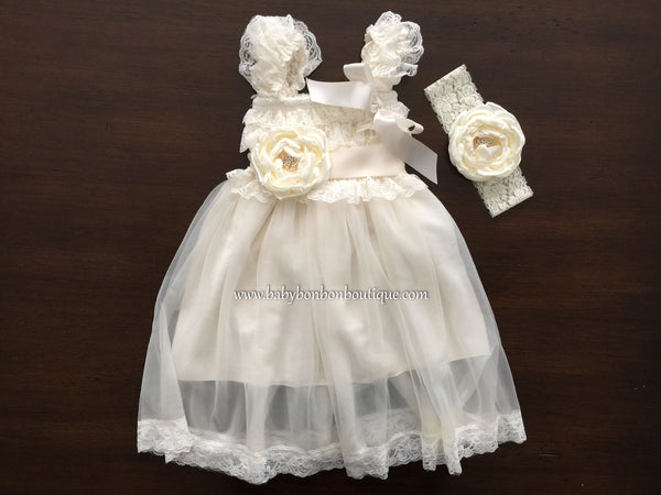 Ivory French Tunic Baptism Dress