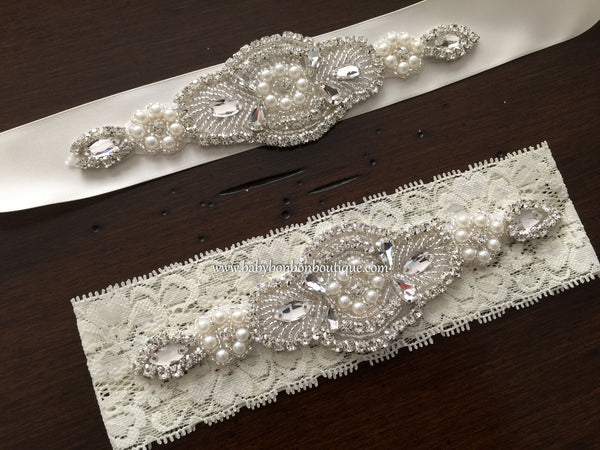 Ivory Baptism Headband & Sash, Rhinestone Headband and Sash