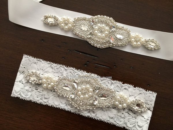 French White Baptism Headband & Sash