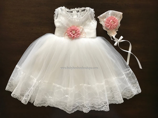 Girl French White Baptism Dress, French Summer Flower Girl Dress