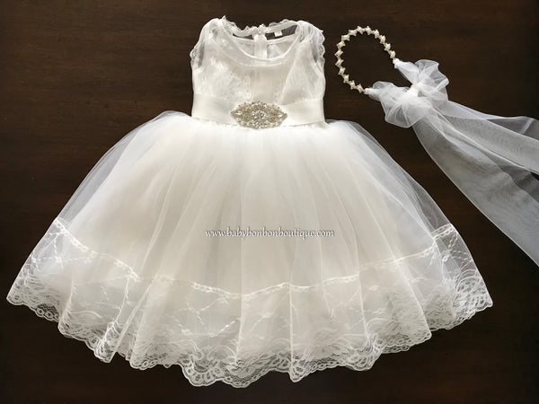 Baby Girl French White Baptism Dress with Rhinestones Headband & Sash