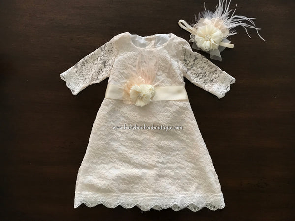 Champagne Bell Lace Christening Dress with Headband and Sash