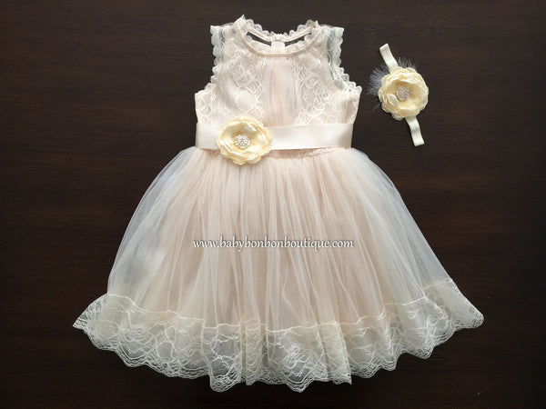 Christening Dress for Baby Girl, Champagne French Summer Dress