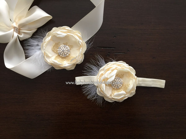 Vintage Cream Flower Baptism Headband & Sash