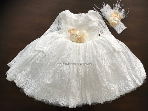 Long Sleeve Baptism Dress, Princessa Lace Baptism Dress