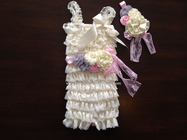 Baby Lace Romper with Ivory Headband & Sash