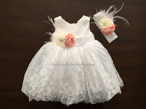 Baby French White Lace Dress