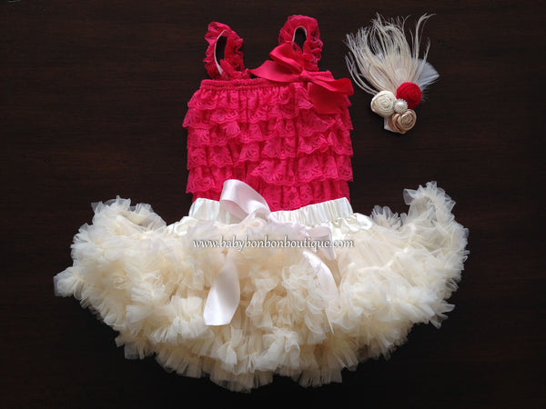 Baby Smash Cake Tutu Set with Headband, Baby Petticoat and Lace Romper