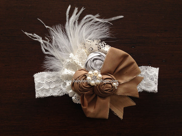 Vintage Brown Rosette Headband, Sash