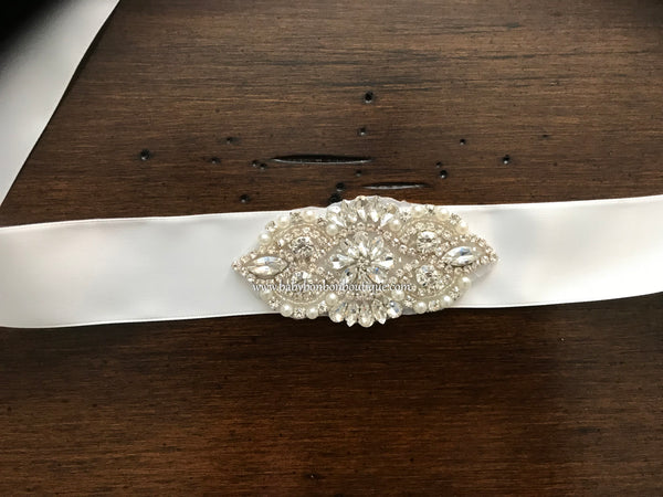 French White Baptism Rhinestone and Pearl Headband & Sash