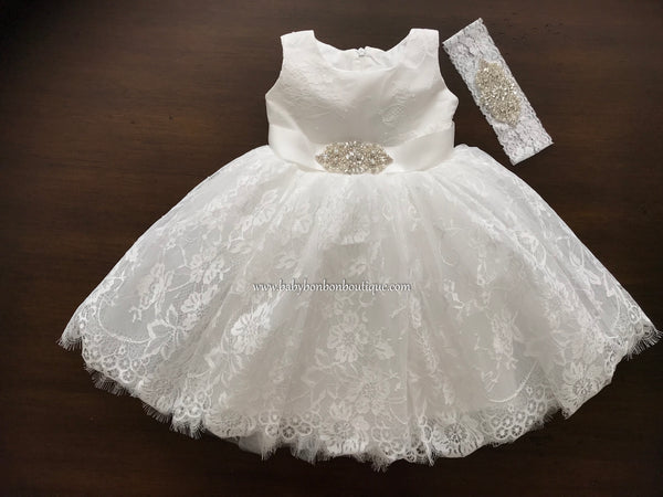 Baby Lace Christening Dress With Rhinestones