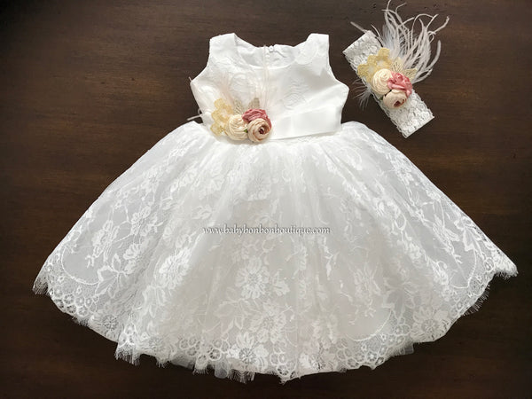 French White Christening Lace Dress