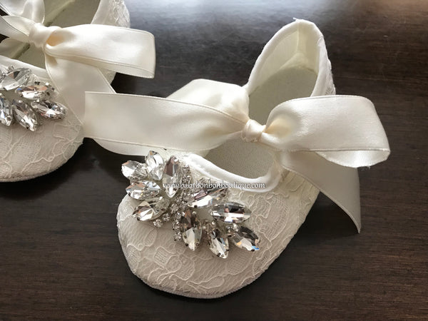 Baby Girl French White Christening Lace Shoes with Rhinestones